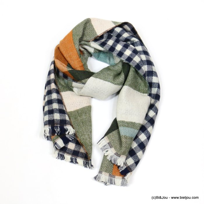 scarf 0719545-03 checked 70%acrylic 30%wool 200x65cm