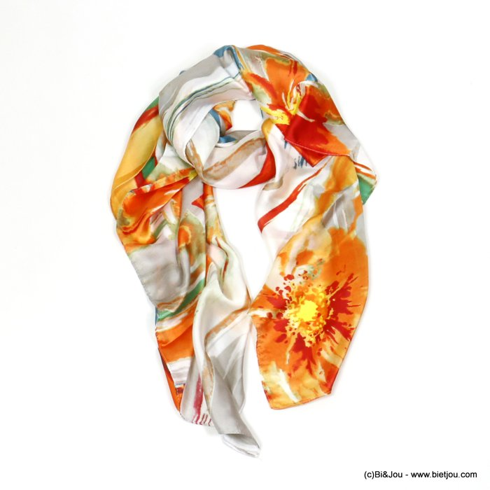 scarf 0720005-11 flower 180x90cm 20%silk 80%viscose