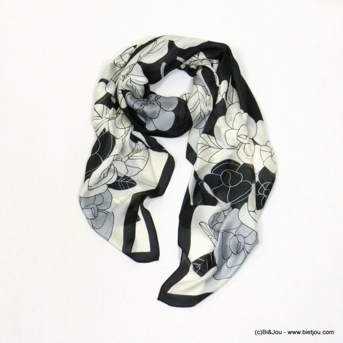 scarf 0721002-01 flower 180x90cm silk feeling 100%polyester