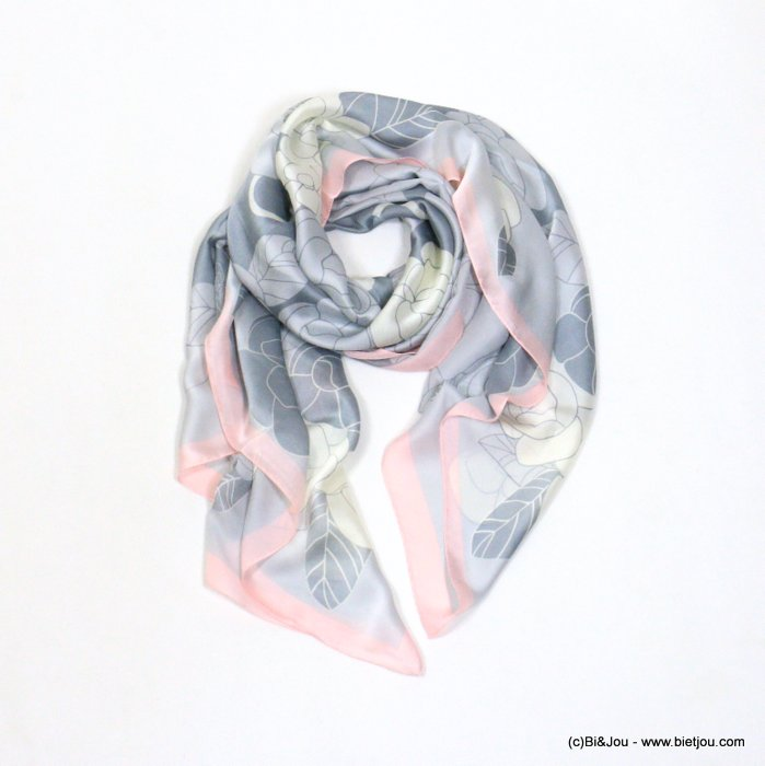 scarf 0721002-25 flower 180x90cm silk feeling 100%polyester