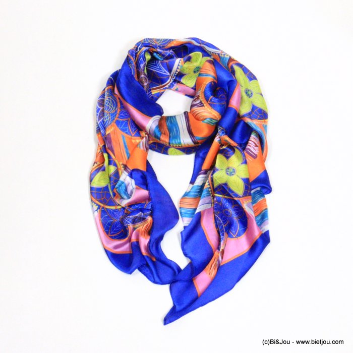 scarf 0721004-09 flower 180x90cm silk feeling 100%polyester