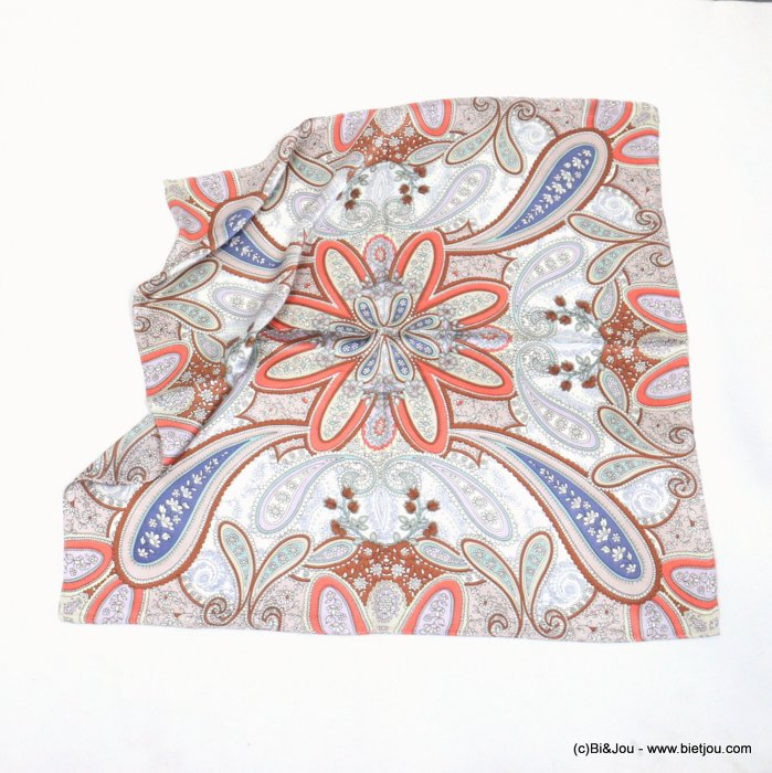 scarf 0721010-18 flower 100%polyester silk feeling 70x70cm
