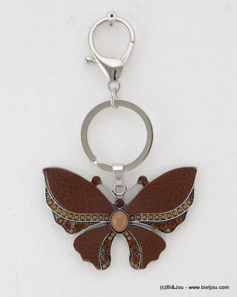 keyholder 0814520-02 butterfly 70x122mm synthetic-strass-seed beads-metal-acrylic