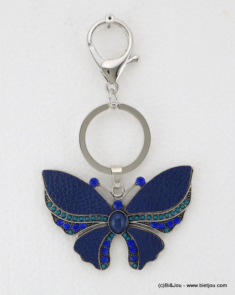 keyholder 0814520-01 butterfly 70x122mm synthetic-strass-seed beads-metal-acrylic