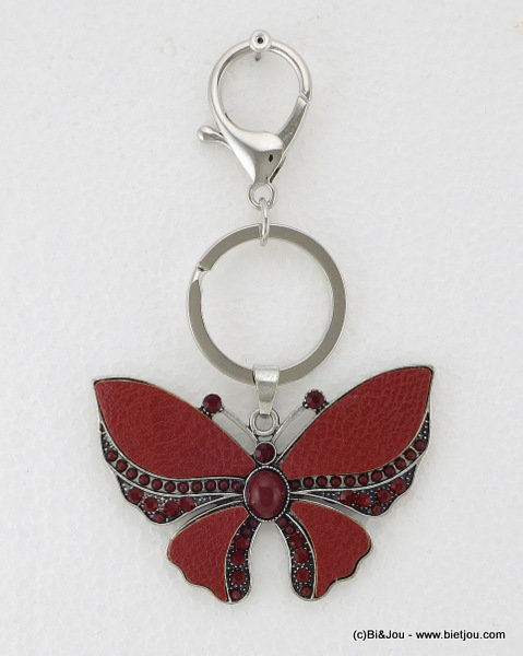 keyholder 0814520-10 butterfly 70x122mm synthetic-strass-seed beads-metal-acrylic