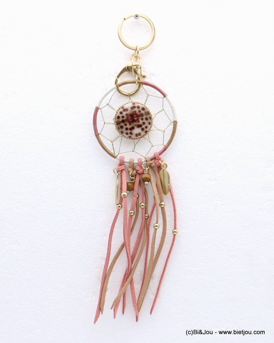keychain 0817005-18 62x240mm metal-suede-wood-shell-seed beads