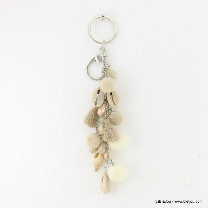 keychain 0817019-06 pompon tassel shell-metal-crystal-polyester