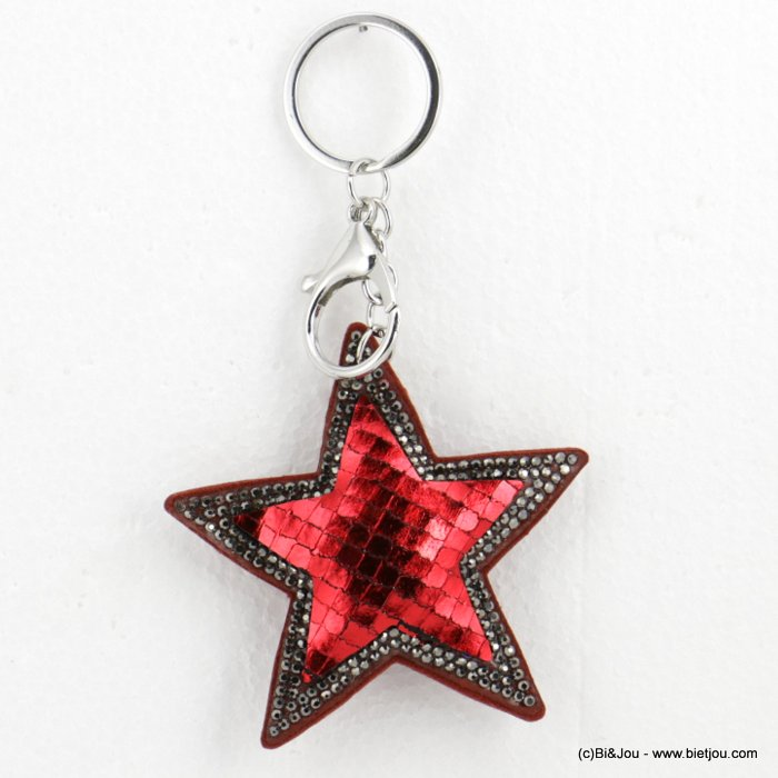 keychain 0818501-10 oversize glitter coloured star 14x8cm woman