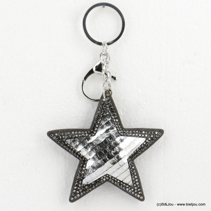keychain 0818501-13 oversize glitter coloured star 14x8cm woman