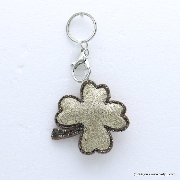 keychain 0818504-14 clover glitter synthetic-strass 73x133mm