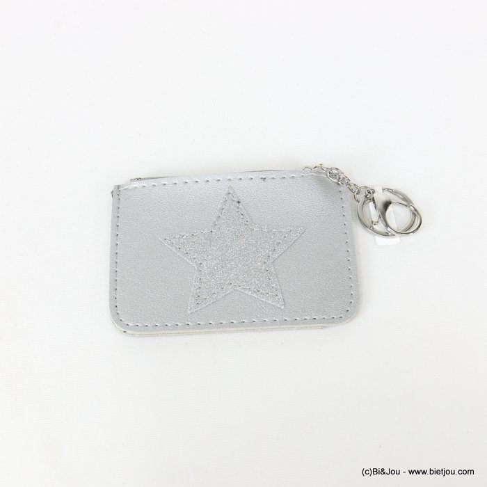 keychain 0818506-13 star glitter purse/card wallet synthetic 120x85mm