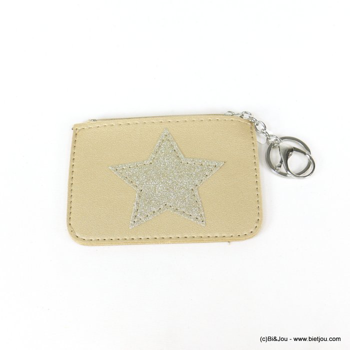 keychain 0818506-14 star glitter purse/card wallet synthetic 120x85mm
