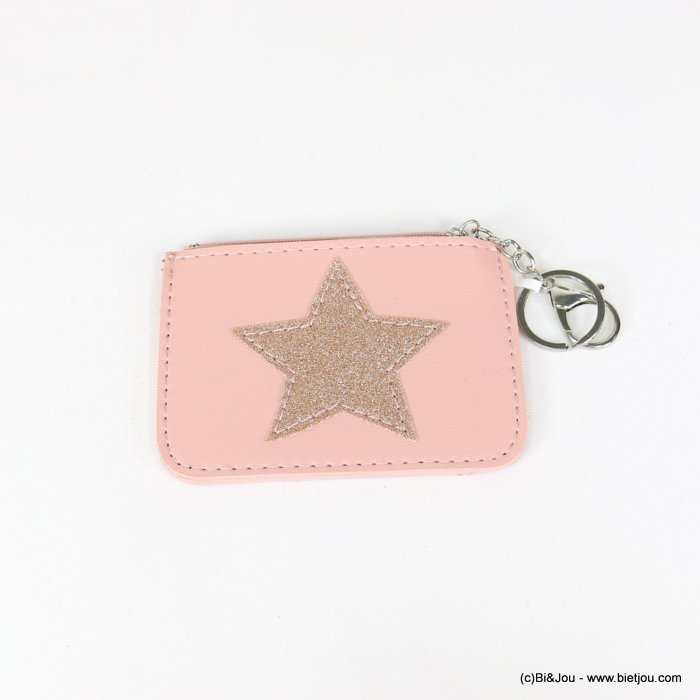 keychain 0818506-23 star glitter purse/card wallet synthetic 120x85mm