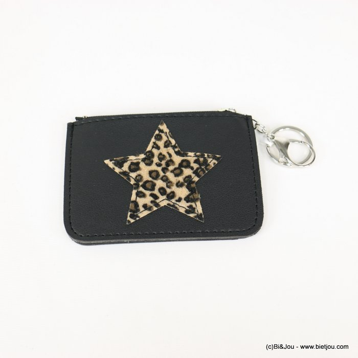 keychain 0818507-06 star leopard-print purse/card wallet synthetic 120x85mm