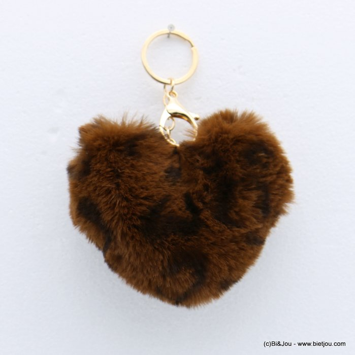 keychain 0818509-02 heart fur imitation leopard-print 105x150mm