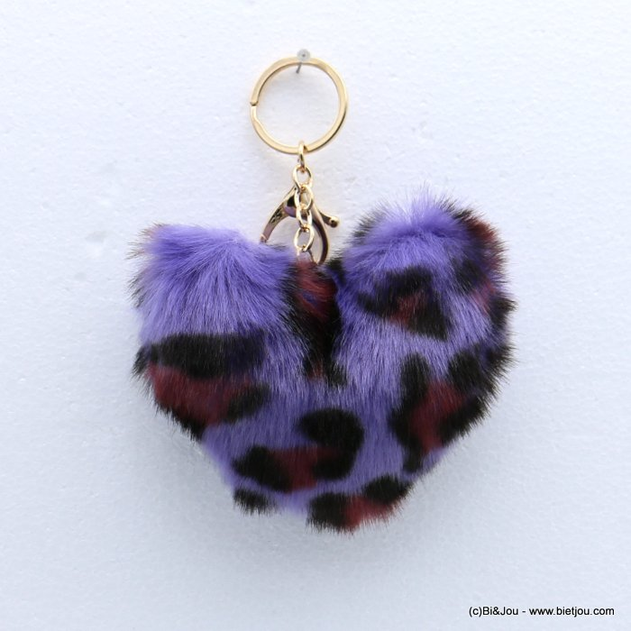 keychain 0818509-04 heart fur imitation leopard-print 105x150mm