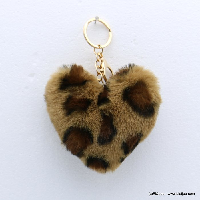 keychain 0818509-06 heart fur imitation leopard-print 105x150mm