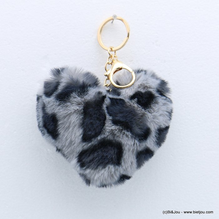 keychain 0818509-26 heart fur imitation leopard-print 105x150mm