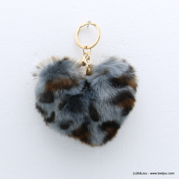 keychain 0818509-99 heart fur imitation leopard-print 105x150mm