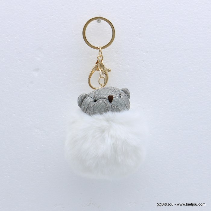 keychain 0818511-19 fur imitation synthetic bear pompon lace 75x140mm