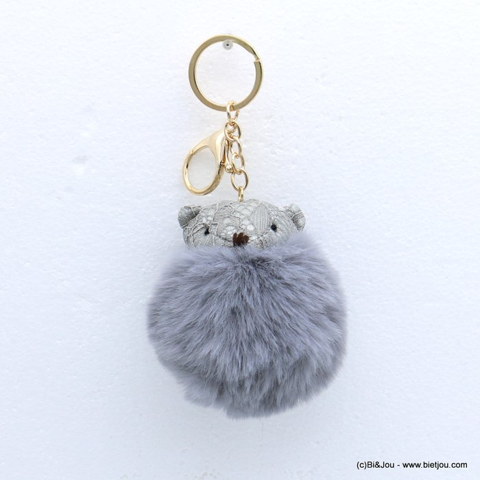 keychain 0818511-25 fur imitation synthetic bear pompon lace 75x140mm