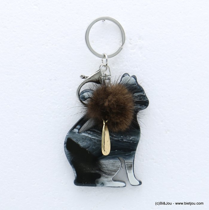 keychain 0818512-02 cat resin faux-fur ball synthetique 6x8cm
