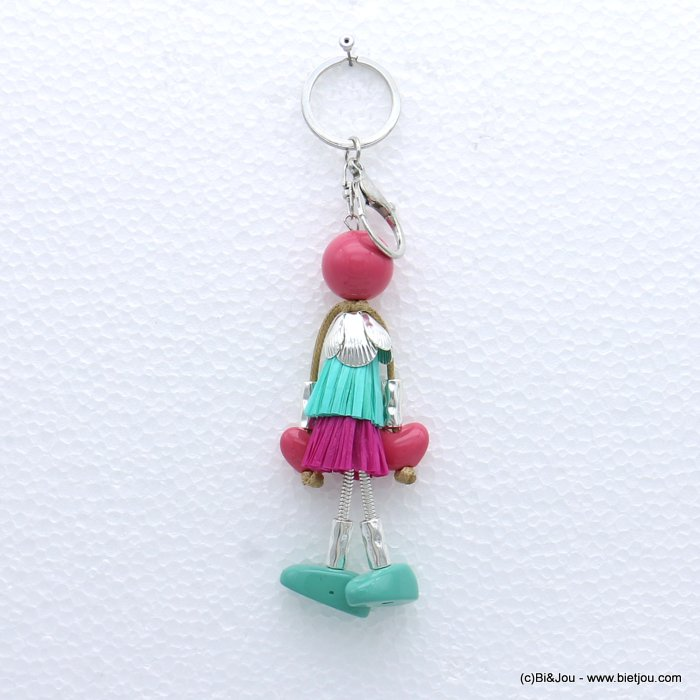 keychain 0819001-18 doll paper thread dress metal acrylic beads 40x160mm