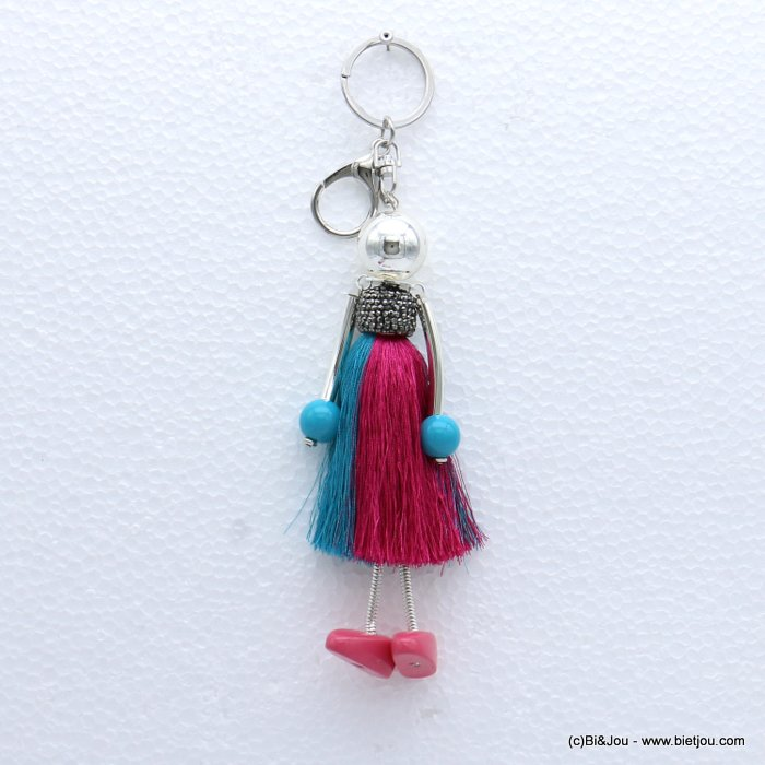 keychain 0819002-28 doll rhinestone polyester thread tassel dress acrylic beads 50x195mm