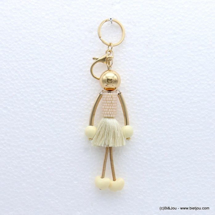 keychain 0819003-06 doll polyester thread tassel crystal dress acrylic beads 45x180mm