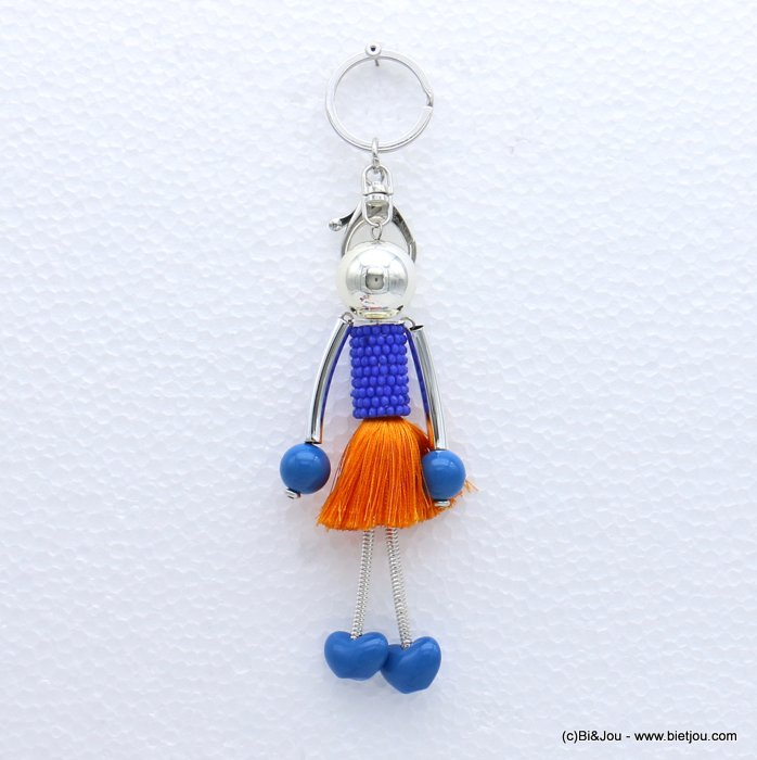 keychain 0819003-09 doll polyester thread tassel crystal dress acrylic beads 45x180mm
