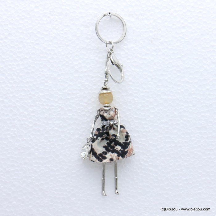keychain 0819004-18 doll snake print fabric dress glass bead rhinestone 40x170mm