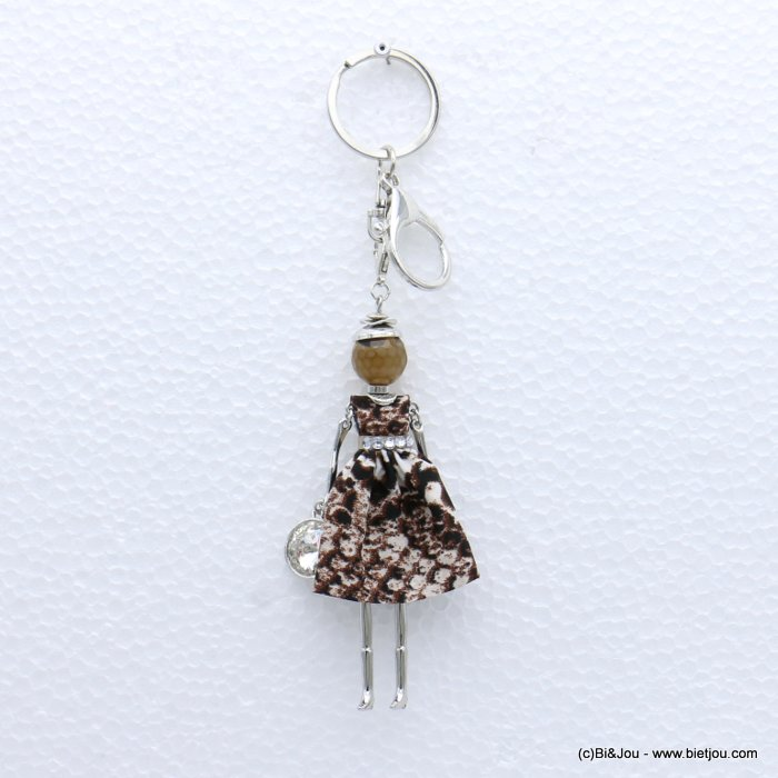 keychain 0819004-30 doll snake print fabric dress glass bead rhinestone 40x170mm