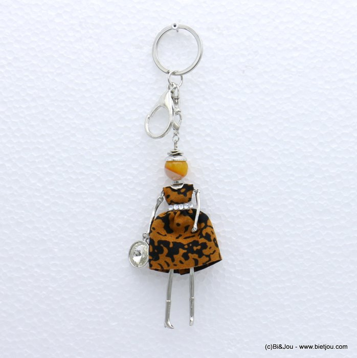 keychain 0819004-42 doll snake print fabric dress glass bead rhinestone 40x170mm
