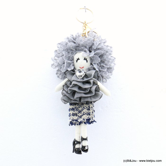 keychain 0819006-25 doll heart 90x215mm lace-polyester-metal-glass-strass