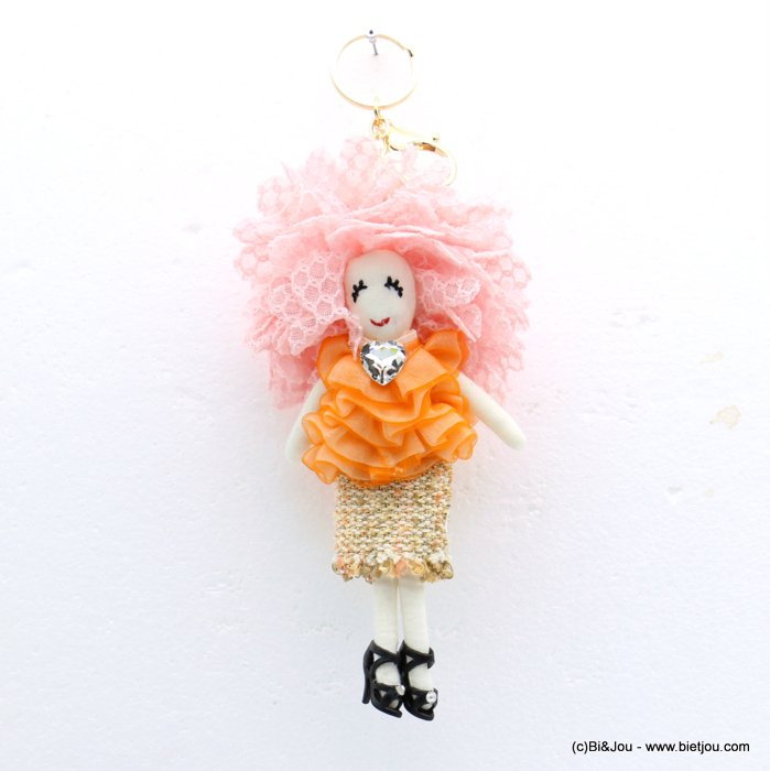 keychain 0819007-11 doll heart 90x215mm lace-polyester-metal-glass-strass