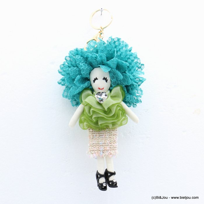 keychain 0819008-07 doll heart 90x215mm lace-polyester-metal-glass-strass