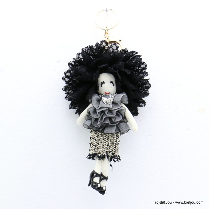 keychain 0819009-01 doll heart 90x215mm lace-polyester-metal-glass-strass