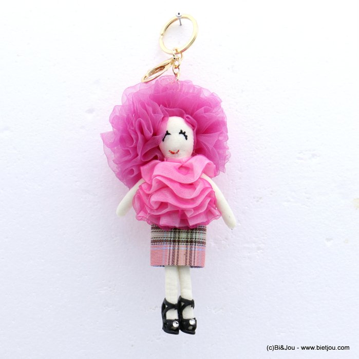 keychain 0819010-28 doll 85x215mm organza-polyester-metal-cotton-strass
