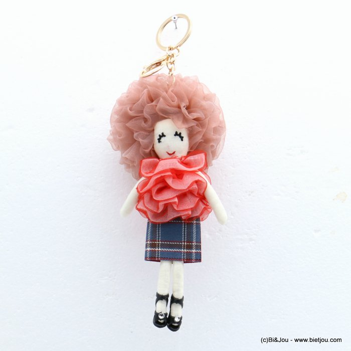 keychain 0819011-36 doll 85x215mm organza-polyester-metal-cotton-strass