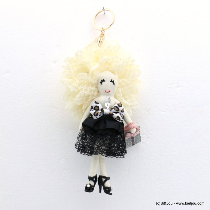 keychain 0819012-01 doll leopard 95x220mm lace-polyester-metal-glass-strass