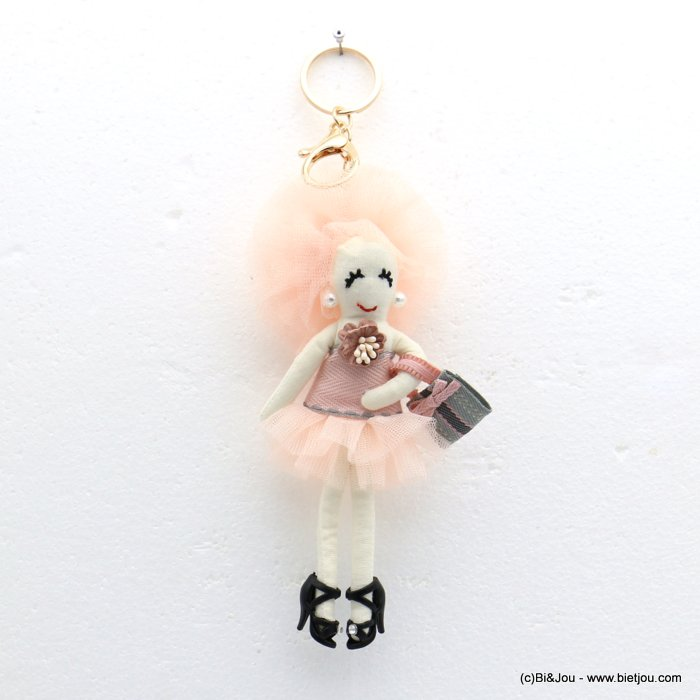 keychain 0819013-18 doll flower 70x220mm organza-polyester-metal-cotton-strass-acrylic beads