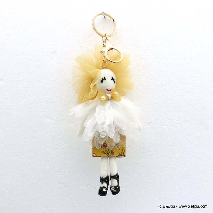 keychain 0819014-43 doll 70x200mm organza-polyester-metal-cotton-strass-acrylic beads