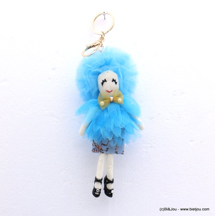 keychain 0819015-08 doll 70x200mm organza-polyester-metal-cotton-strass-acrylic beads