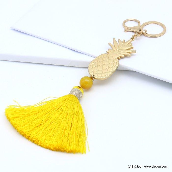 porte-clés 0819016-43 bijou de sac, pendentif ananas en métal, perle, pompon XXL 20x190mm