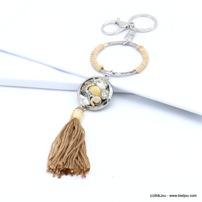 handbag key holder 0819017-02 ring surrounded by imitation leather, charms, tassel 60x220mm