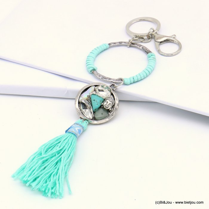 handbag key holder 0819017-17 ring surrounded by imitation leather, charms, tassel 60x220mm