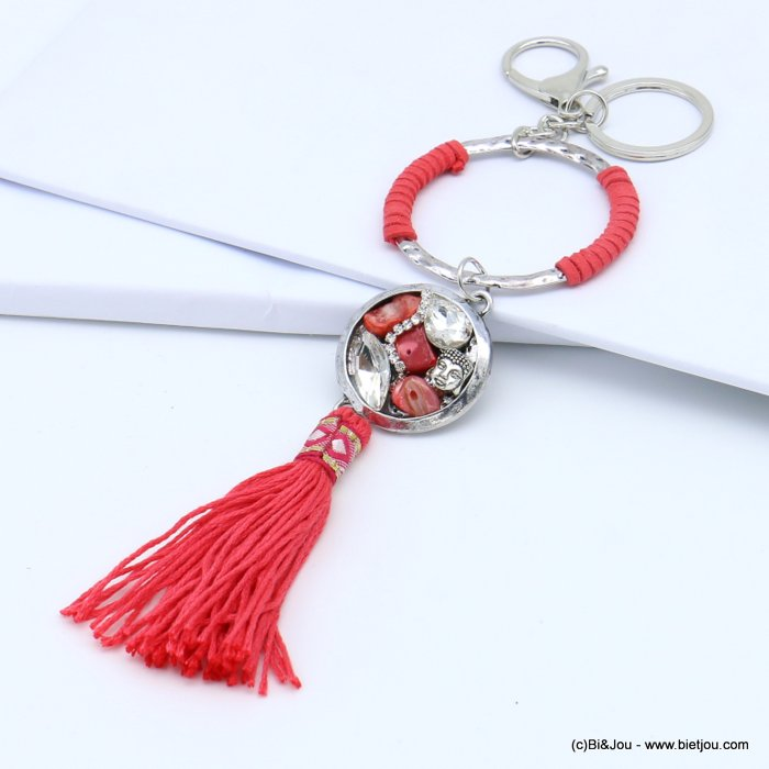 handbag key holder 0819017-36 ring surrounded by imitation leather, charms, tassel 60x220mm