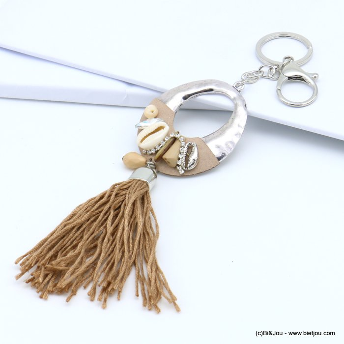 handbag key holder 0819018-02 oval circle openwork hammered, cowrie shell, strass, faceted drop, tassel 50x210mm