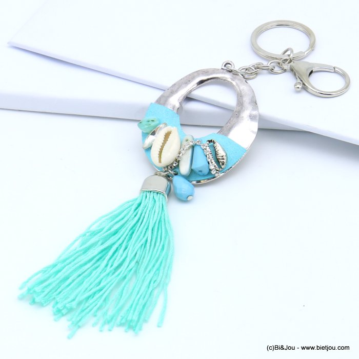 handbag key holder 0819018-17 oval circle openwork hammered, cowrie shell, strass, faceted drop, tassel 50x210mm