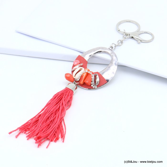 handbag key holder 0819018-36 oval circle openwork hammered, cowrie shell, strass, faceted drop, tassel 50x210mm